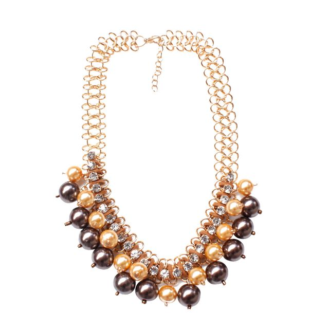 Elegant Gold Tone Faux Pearl Crystal Cluster Collar Statement Bib Necklace