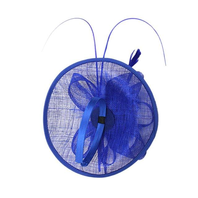 Women Girls Party Charms Bridal Fascinator Hairclip Wedding Headpiece Feather Hairpin Hair Decor Accessory Royal Blue