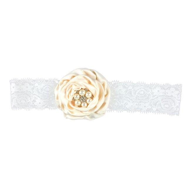 Women Girls Flower Lace Pearls Headband Hair Band Party Hair jewelry