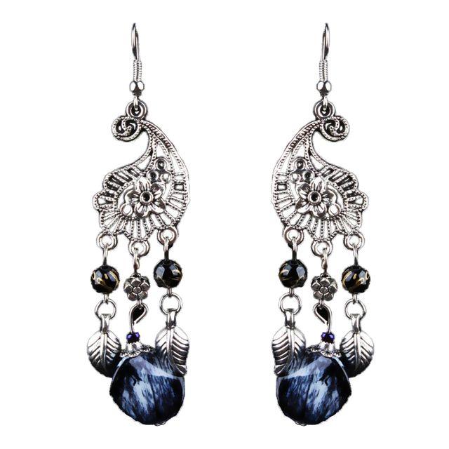 Antique Fashion Bohemia Style Peacock Shape Dangle Earrings Fancy Decoration