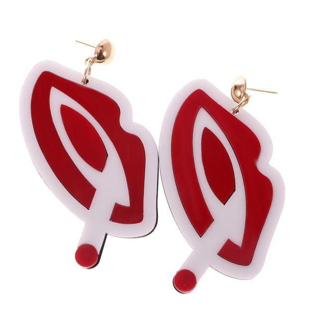 Women's Punk Rock Hip-hop Nightclub Red Lip Big Dangle Stud Earrings