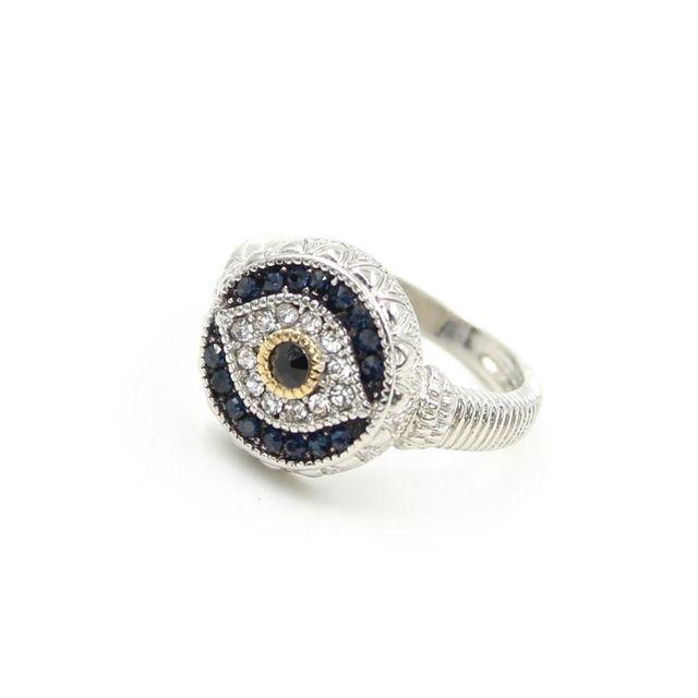 Vintage Evil Eye Glitter Rhinestone Finger Ring Turkish Jewellery Lucky Fashion Ornaments