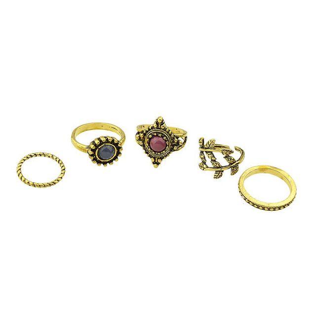 Women Retro Midi Stack Finger Rings Vintage Bronze 5-pieces