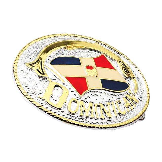 Western Cowboy Gold Zinc Alloy Dominican Flag Belt Buckle for Mens Leather Belt Accessories