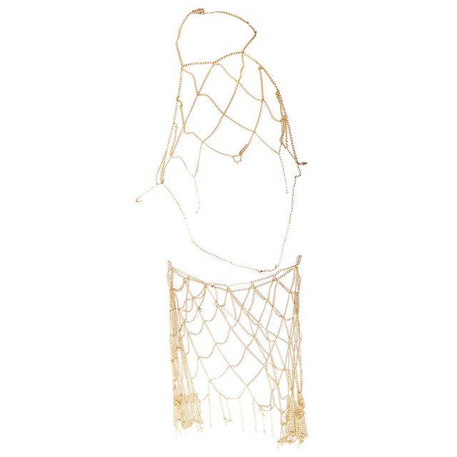 Hollow Net Design Harness Body Belly Waist Chain Skirt Beach Bikini Jewelry