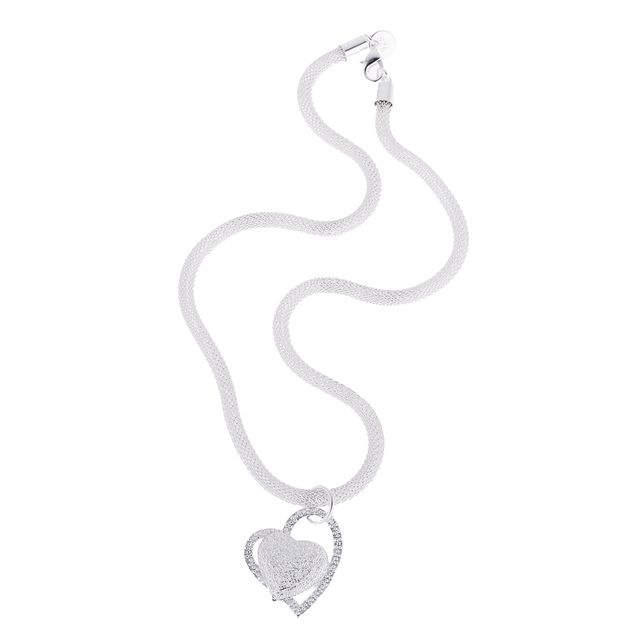 Women Girls Silver Plated Double Heart Love Charm Pendant Chain Necklace Jewelry Gift
