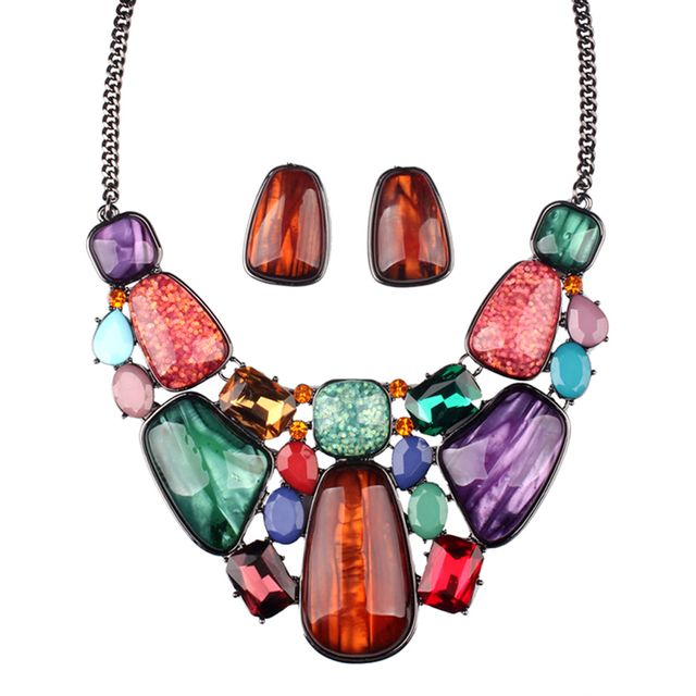 Lady Jewelry Party Multicolor Crystal Statement Necklace Stud Earings Jewelry Sets