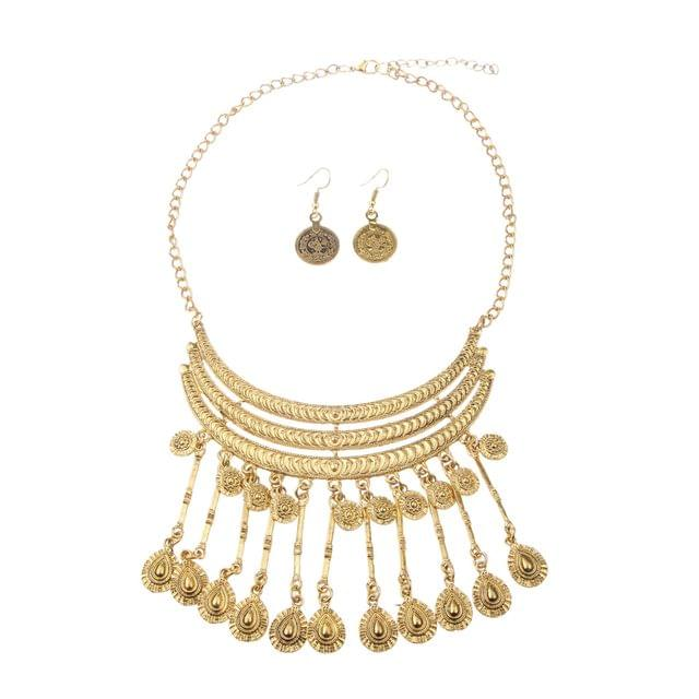 Vintage Jewelry Set Women Bohemia Coin Maxi Necklaces Earrings Statement Jewelry