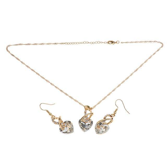 Rhinestone Crystal Heart Necklace Earrings Jewelry Set For Wedding Bridal