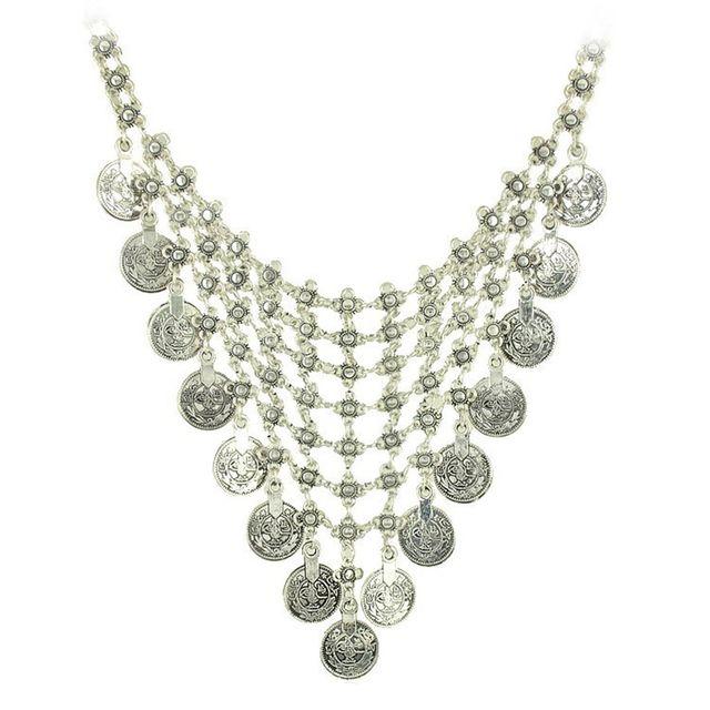 European Retro Silver Coins Tassels Pendant Short Statement Necklace Jewelry
