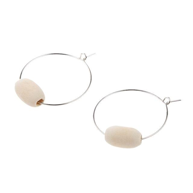 Simple Style Girls Wooden Round Bead Dangle Earrings