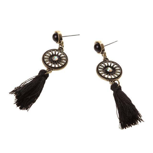 Vintage Bohemian Black Tassel Fringe Ear Studs Long Earring Women Lady Jewelry Gift