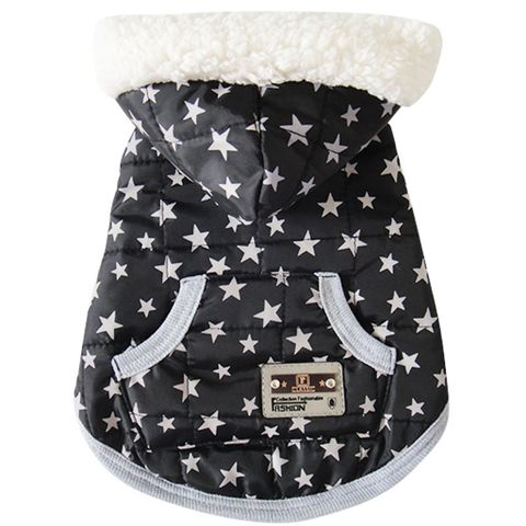 Dog Puppy Pet Warm Coat Thick Winter Hoodie Jacket with Pocket Black S