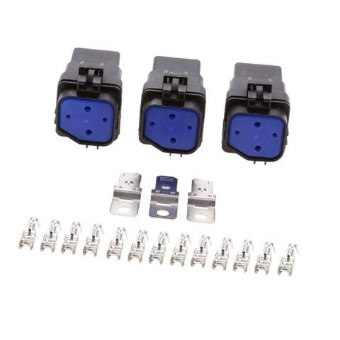 3pcs Car Vehicles 24V 40A 4 Pin SPST Relay and Socket With Terminals