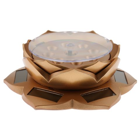 Solar Power/Battery Lotus Flower Lamp 360° Rotary Jewelry Watch Ring Bracelet Display Stand Plate Gold