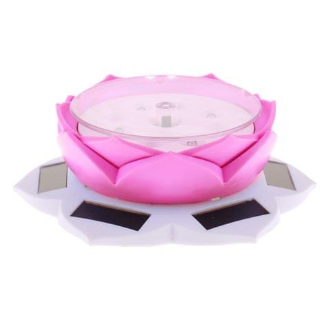Solar Power/Battery Lotus Flower Lamp 360° Rotary Jewelry Watch Ring Bracelet Display Stand Plate White + Rose Red