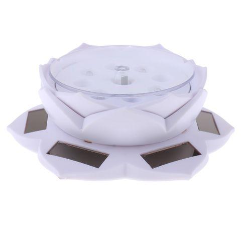 Lotus Lamp Solar Powered 360° Rotating Jewellery Ring Phone Display Holder Organizer Decorative White