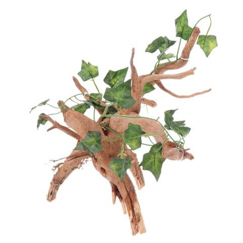 Natural Rhododendron Wood Root with Artificial Vine Leaf- Creates Natural-looking Habitat for Reptile and Amphibian-Décor & Climbing Toy for Chameleons, Frogs, Geckos, Lizards