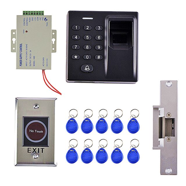 Access Control Keypad+Power Supply+Electric Lock+ RFID Key Fobs+Exit Button
