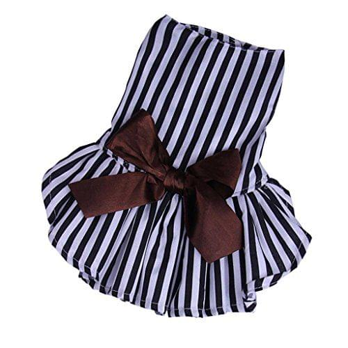 Cotton Breathable Strip Pattern Dog Puppy Cat Dog Bowknot Skirt Costume Clothing Accessory XL