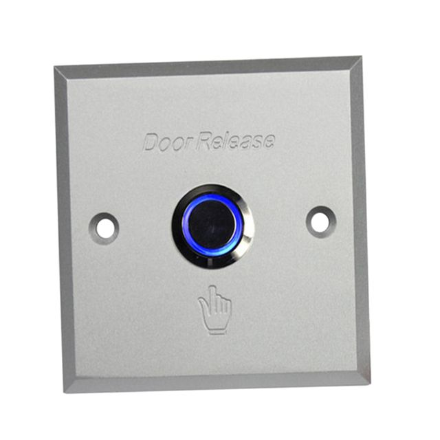 Door Exit Button Switch Plate With LED Light Indicator for Home Office Access Control System 86x86x44mm