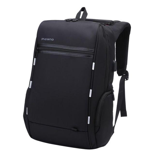 Unisex Shoulder Nylon Backpack Rucksack School 15.6 Laptop College Bag-Black