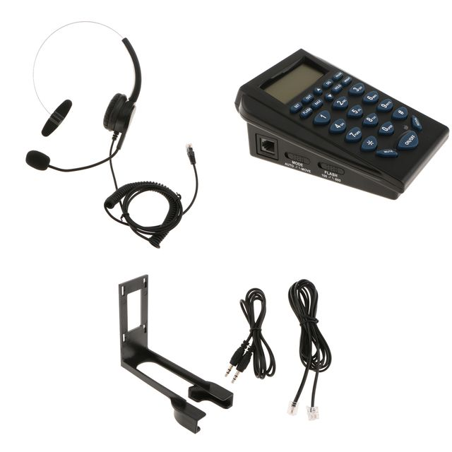 HT310 LCD Display Telephone With Corded Headset Call Center Customer Service Phone Dial Key Pad