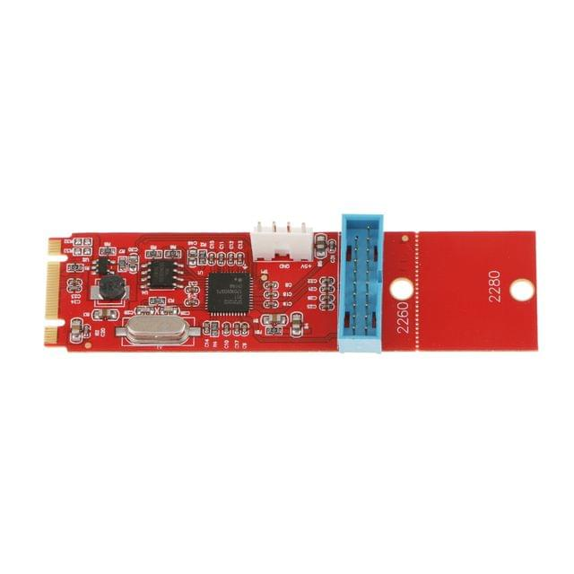 5 Gbps USB 3.0 Converter Card Expansion Card NGFF M.2 Express 19 Pin Red