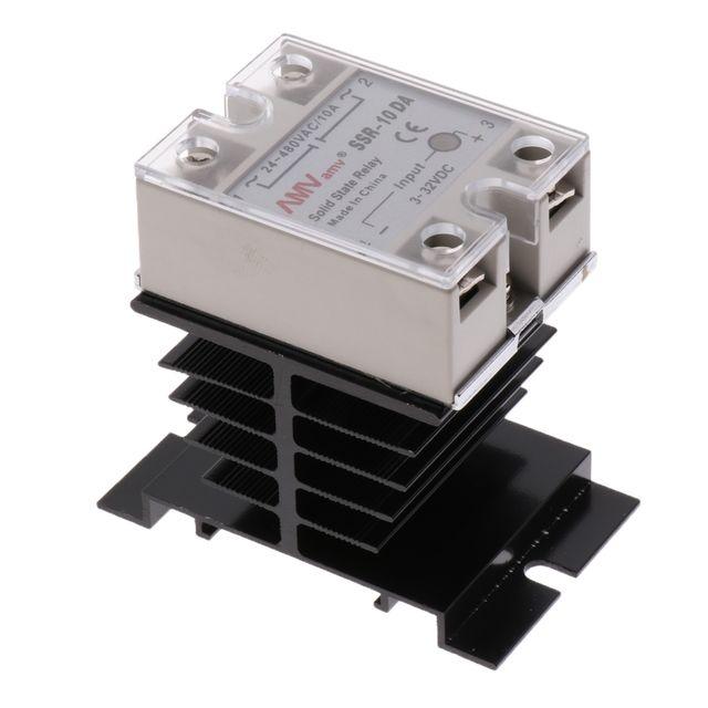 SSR-10DA Solid State Relay 3-32V DC / 24-480V AC / 10A Control+Heat Sink
