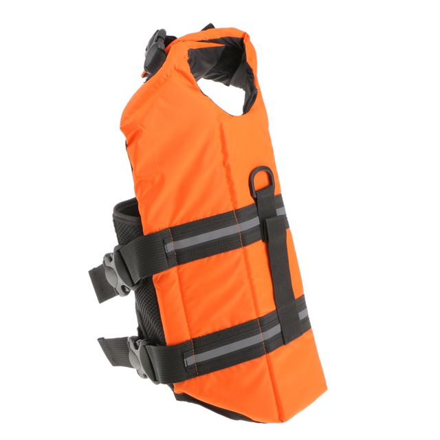 Lightweight Waterproof Oxford Fabric Strong Buoyancy Pet Life Security Jackets Vest Orange XL