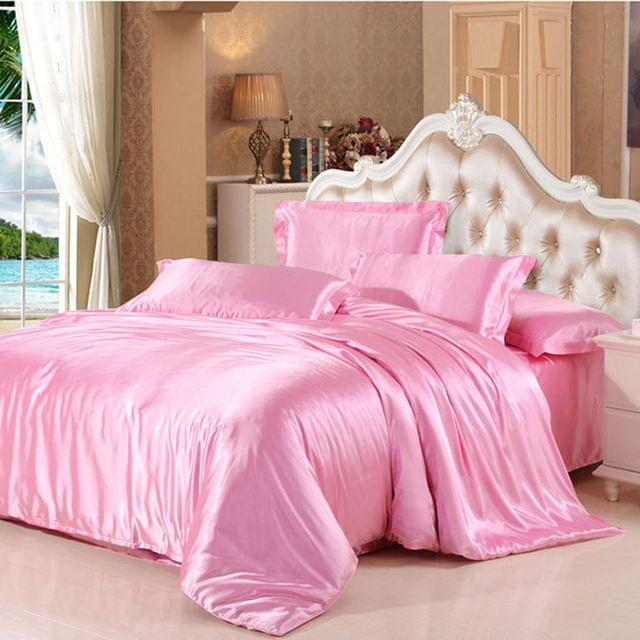 Soft Comfortable Shrink Resistant Solid Color Satin Silk Bedding Duvet Cover+Flat Sheet+Pillow Case FOR 4ft Twin Size Bed Pink
