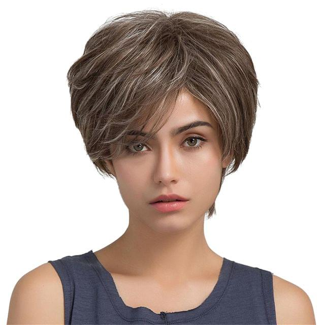 Women's Fashion Short Straight Mix Color Fashion Side Swept Bangs Human Hair Wig for Daily Party Costume