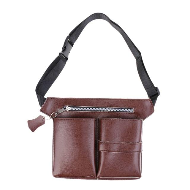 Stylish Fashionable Lightweight Soft Durable Leather Barber Waist Bag Holster Scissors Holder Pouch Brown