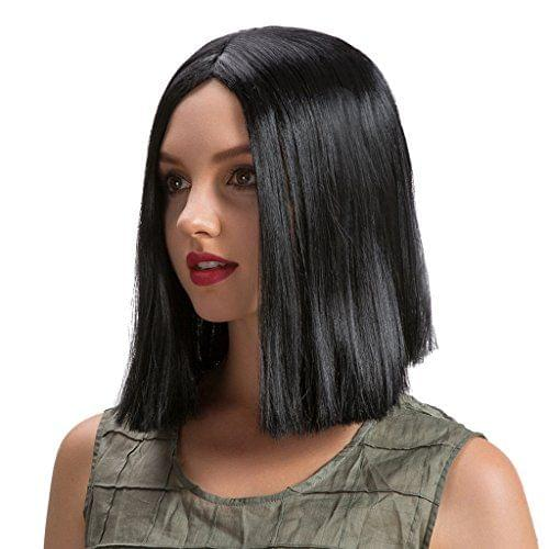 Short Bob Wigs Elegant Straight Black Synthetic Heat Resistant Daily Costume Cosplay for Women Ladies