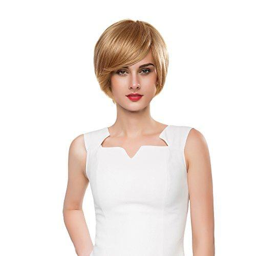 Charming Natural Women Bob Short Straight Gold Layered Wig Real Human Hair Full Hairpiece Cosplay Wigs