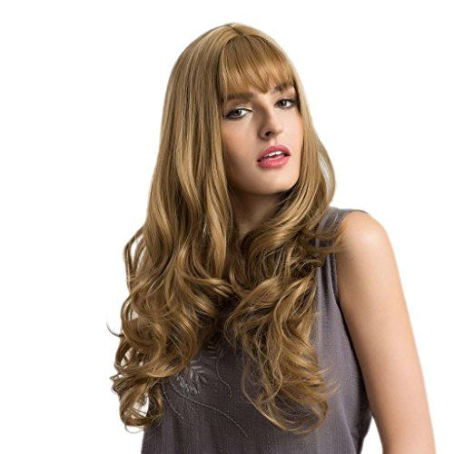 Girl Women 26 inches Long Natural Wavy Curly Synthetic Hair Wigs Straight Bang with Cap Fashion Flaxen Color for Costume Daily Wear Cosplay Party
