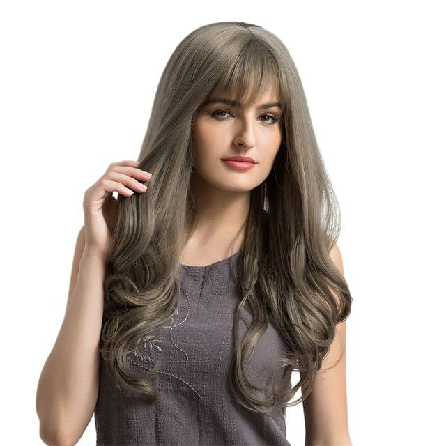 "26"" Women Long Natural Wavy Curly Synthetic Hair Wigs Bang + Cap Flaxen Grey"