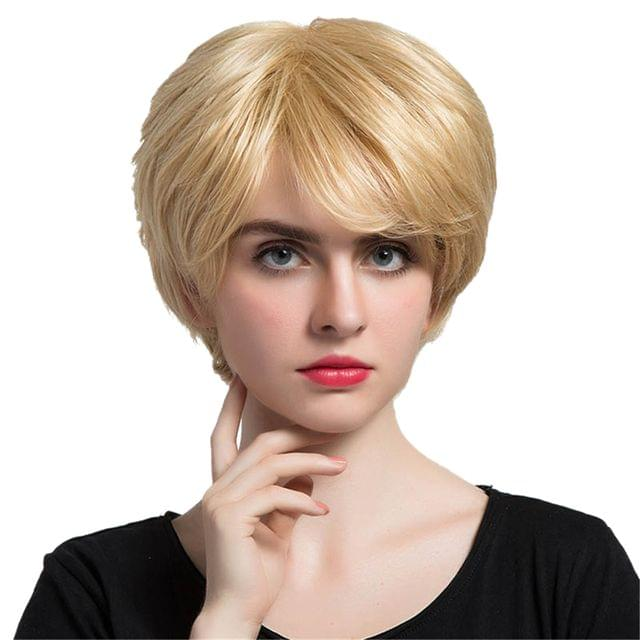 Women Fashion Charming Blond Real Human Hair Bob Wig Short Full Wigs Daily Wear /Costume Party Cosplay