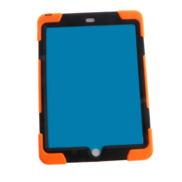 Orange Full Body Protective Silicon Rubber Cover Case Stand for iPad Air Tablets