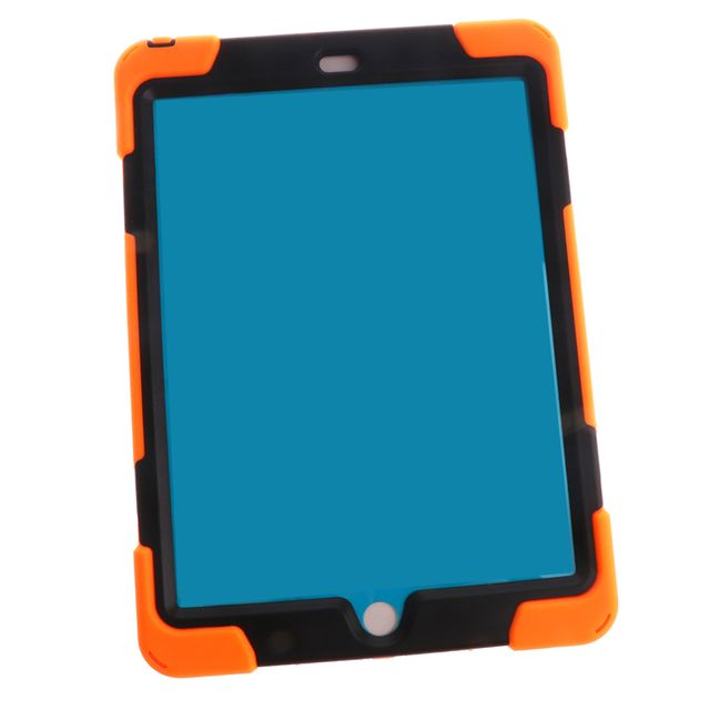 Orange Full Body Protective Silicon Rubber Cover Case Stand for iPad Air2 Tablets