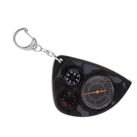 Multifunction Mini Camping Hiking Keychain Compass Thermometer Key 3 in 1, Fashion Design and Durable