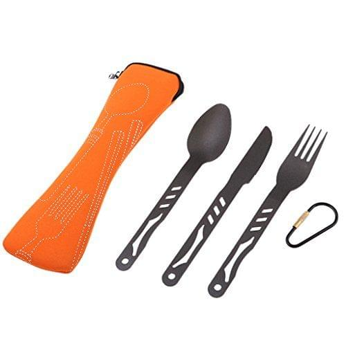 Outdoor Alloy Portable Lightweight Camping Cutlery Set Knife Fork Spoon Set