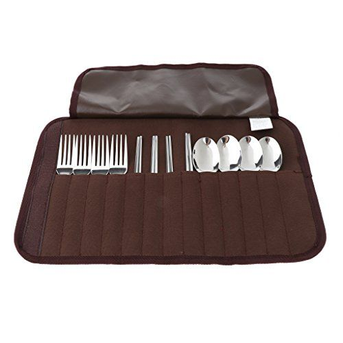 12pcs Stainless Steel Flatware Set, Fork Spoon Chopsticks Set, Travel Camping Cutlery Set with Case, Portable Travel Silverware Set