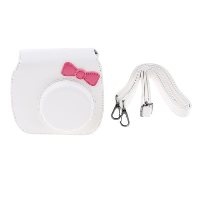Leather Bag Pouch Protective Case For Fujifilm Instax Mini 8/Mini 8+/Mini 9 Polaroid Cameras with Shoulder Strap - White