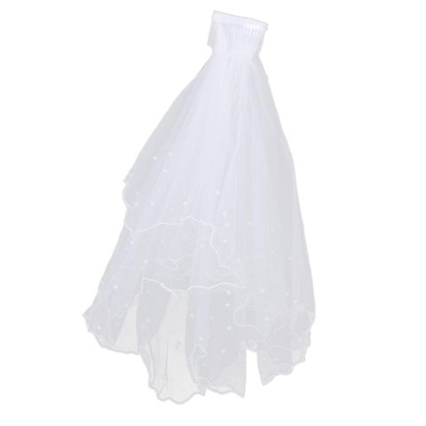 Fashionable 2 Layers Tiers Small Beads Charms Bridal Veil with Comb Bridal Wedding Clothing Accessory Wedding Outfit Accessory White