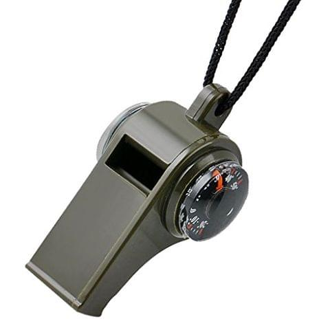 3 in 1 Camping Hiking Emergency Survival Gear Whistle Compass Thermometer