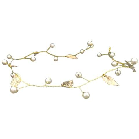 Wedding Bridal Women Pearl Leaves Garland Headband Hairband Headpiece Gold