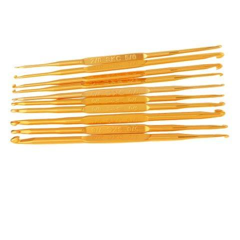 10 Sizes Golden Double Pointed Double End Aluminum Crochet Hooks Knitting Needles Set Size 2.0-8.0mm Kit
