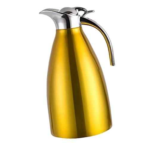 Double Wall Design Non-Toxic Stainless Steel 2L Capacity Double Vacuum Insulation Thermal Coffee Carafe Home Water Pot Yellow