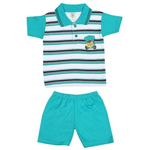 SIXER Polo Kid's Wear Green With White Black Striped Top